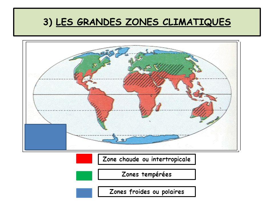 3) LES GRANDES ZONES CLIMATIQUES Zone chaude ou intertropicale Zones tempérées Zones froides ou polaires