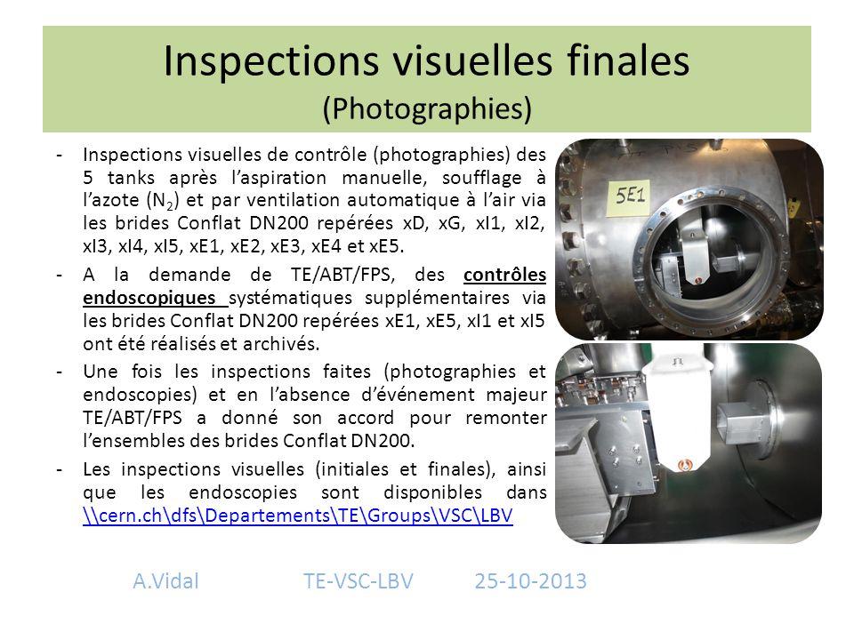 Inspections visuelles finales (Photographies) -Inspections visuelles de contrôle (photographies) des 5 tanks après l'aspiration manuelle, soufflage à