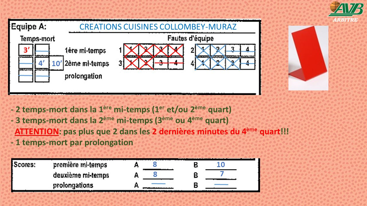 10' 4' 3' 8 7 8 10 CREATIONS CUISINES COLLOMBEY-MURAZ - 2 temps-mort dans la 1 ère mi-temps (1 er et/ou 2 ème quart) - 3 temps-mort dans la 2 ème mi-t
