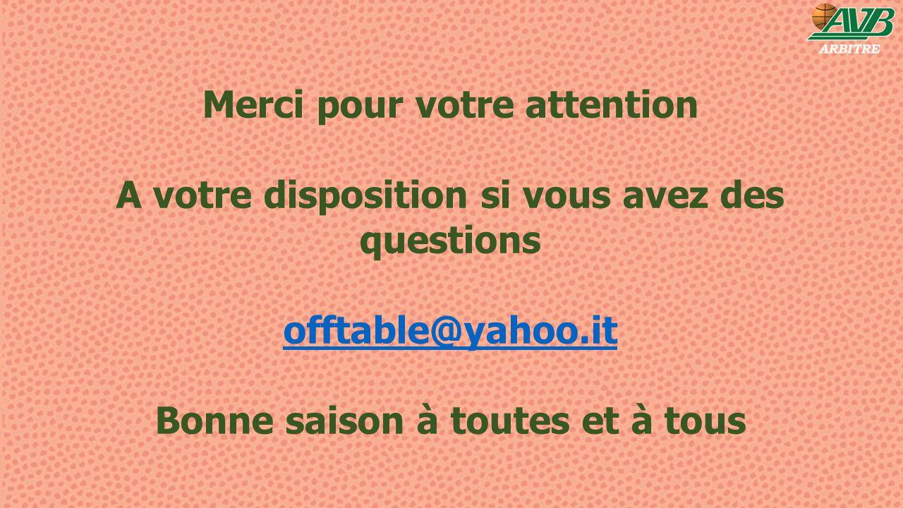 Merci pour votre attention A votre disposition si vous avez des questions offtable@yahoo.it Bonne saison à toutes et à tous