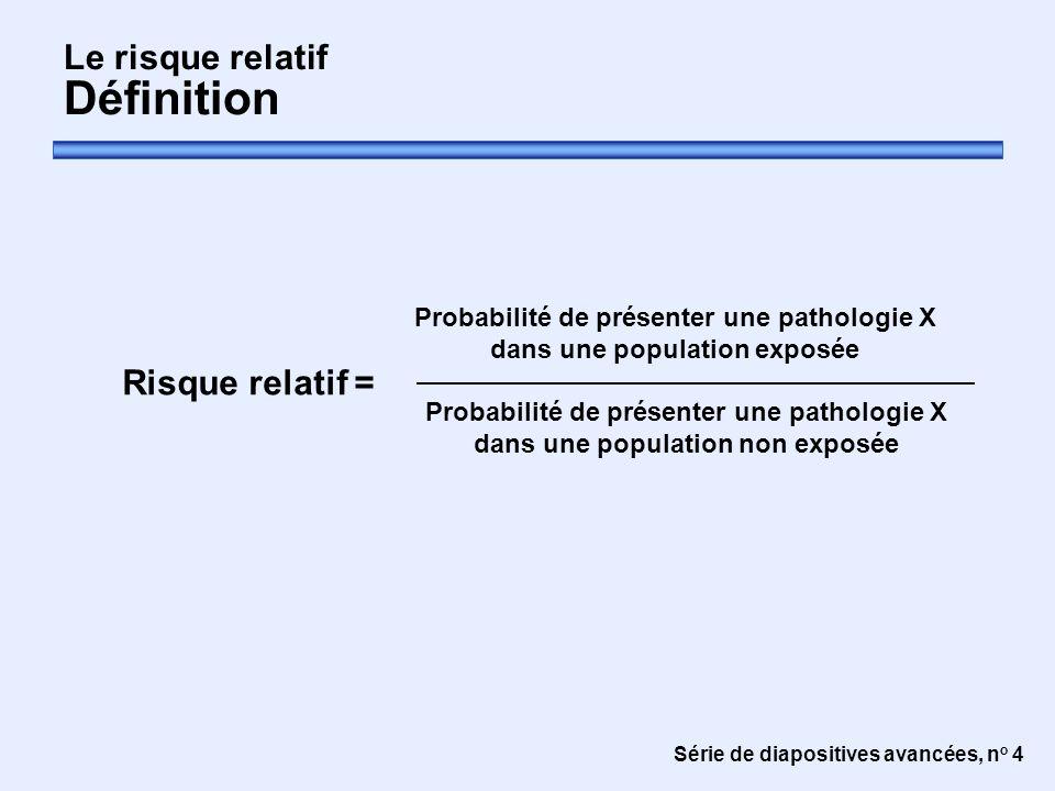 Série de diapositives avancées, n o 4 Le risque relatif Définition Risque relatif = Probabilité de présenter une pathologie X dans une population non exposée Probabilité de présenter une pathologie X dans une population exposée