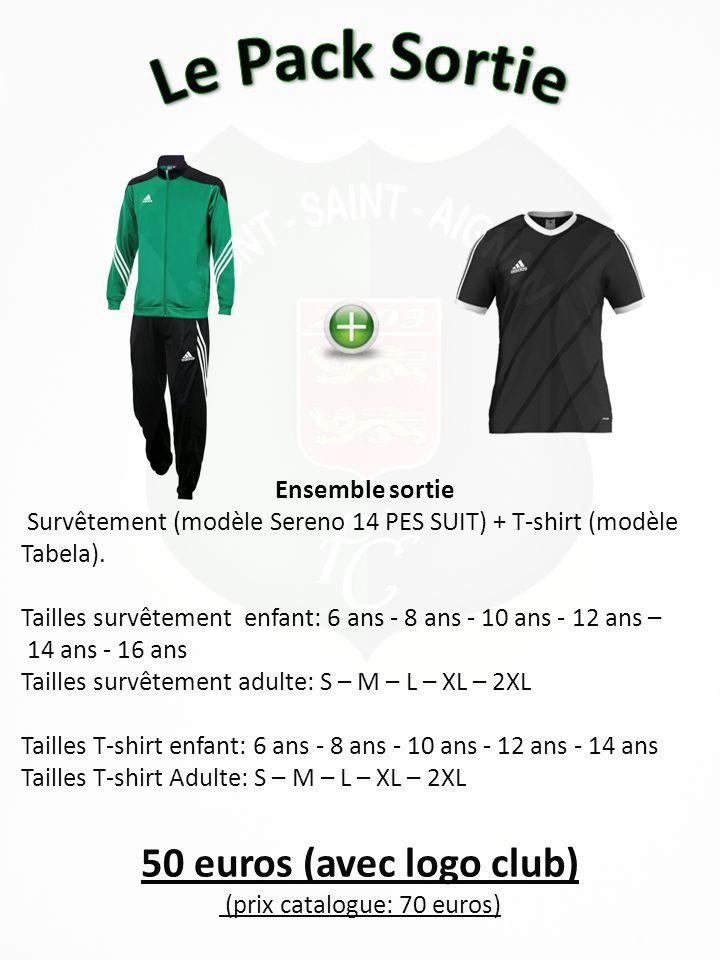 22 euros (Sans flocage logo club) (prix catalogue: 36 euros) Ensemble entraînement Maillot (modèle Tabela) + Short (modèle Parma) + paire de chaussettes (modèle Santos) Tailles Maillot enfant: 6 ans - 8 ans - 10 ans - 12 ans - 14 ans Tailles Maillot Adulte: S – M – L – XL – 2XL Tailles short enfants et adulte: 2XS – XS – S – M – L – XL – 2XL Tailles chaussettes: 32-34/35-37/38-40/41-43/44-46/ 47-49