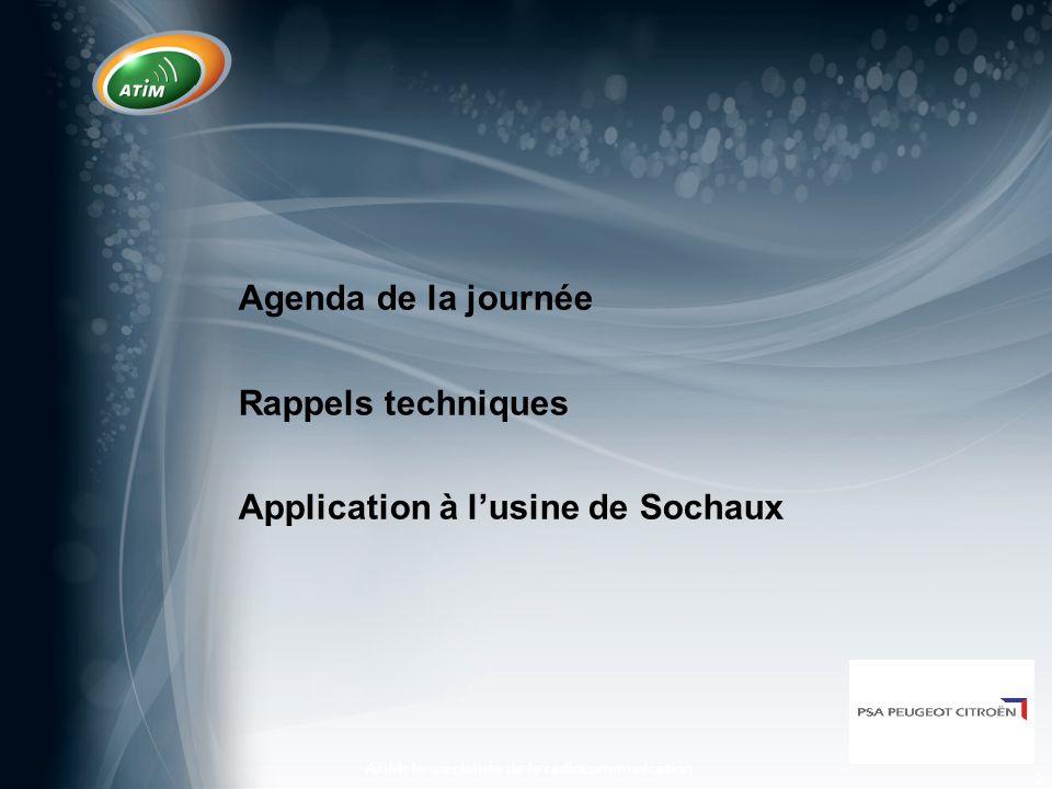 3 Agenda 8:30 Accueil 9:00 - 9:45 Principes de base, propagation 9:45 - 10:30 Types d'antennes 10:30 - 11:00 Café 10:30 – 12:00 Mise en application de la chaine de transmission radio pour Sochaux 12:00 - 14:00 Repas 14:00 - 14:45 Test radio dans l'usine 14:45 - 15:30 Visite de l'usine et proposition d'emplacement des antennes 15:30 - 16:00 Café 16:00 - 17:00 Questions-Réponses clôture