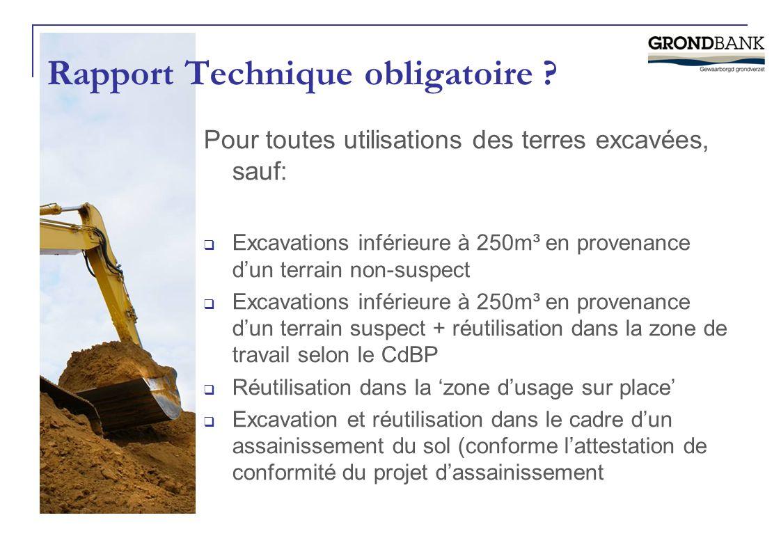 Pour toutes utilisations des terres excavées, sauf:  Excavations inférieure à 250m³ en provenance d'un terrain non-suspect  Excavations inférieure à
