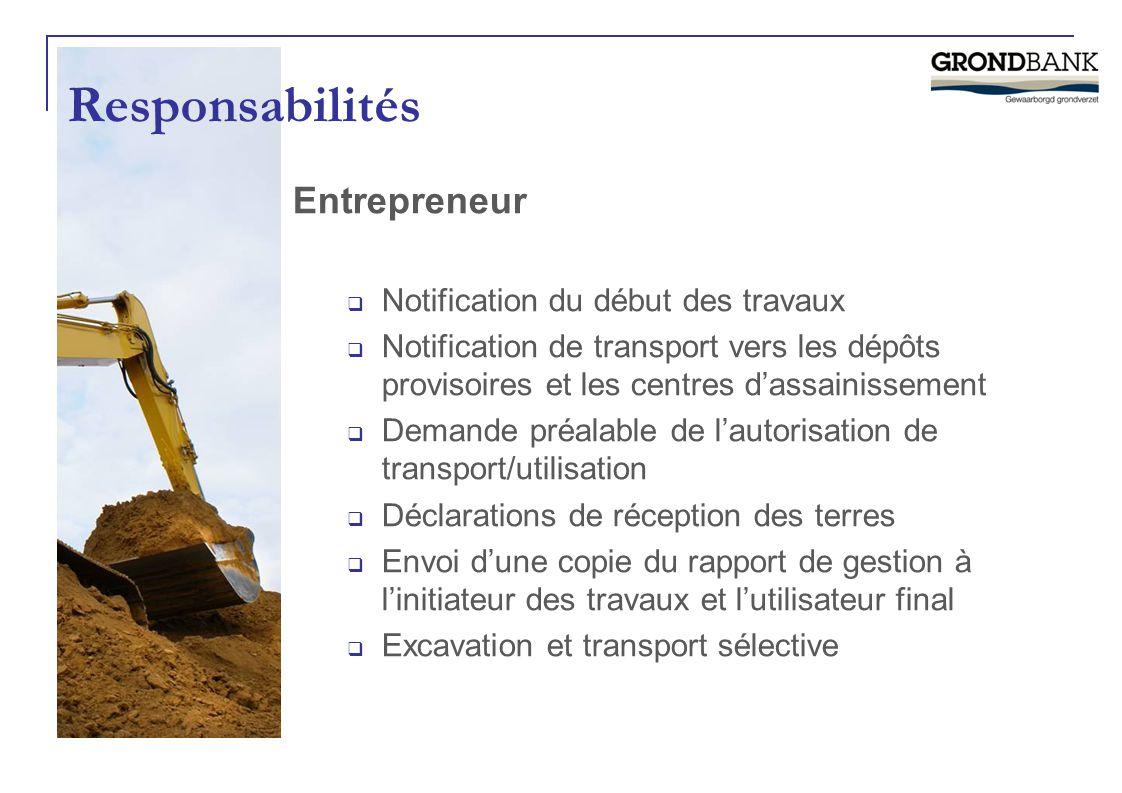 Entrepreneur  Notification du début des travaux  Notification de transport vers les dépôts provisoires et les centres d'assainissement  Demande pré