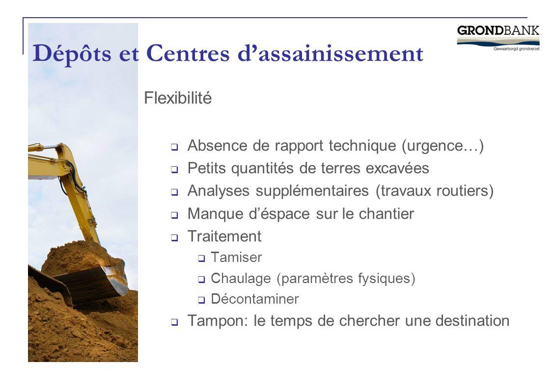 Dépôts et Centres d'assainissement Flexibilité  Absence de rapport technique (urgence…)  Petits quantités de terres excavées  Analyses supplémentai
