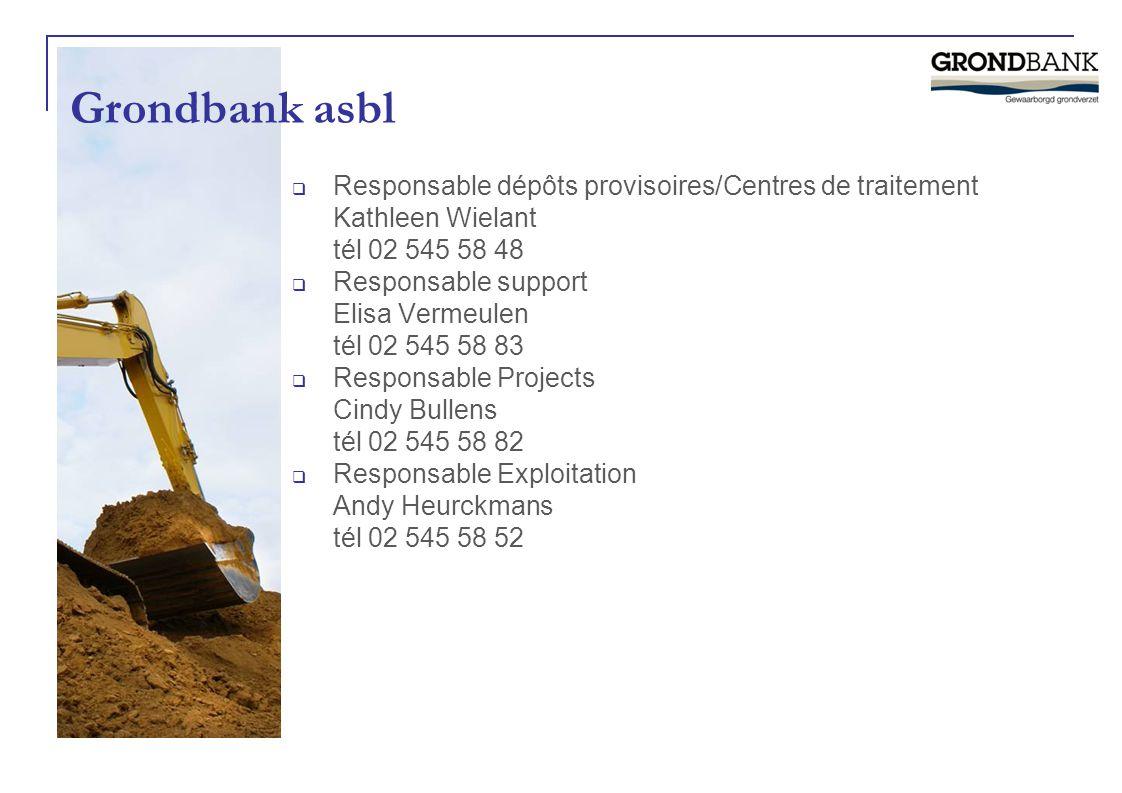 Grondbank asbl  Responsable dépôts provisoires/Centres de traitement Kathleen Wielant tél 02 545 58 48  Responsable support Elisa Vermeulen tél 02 5