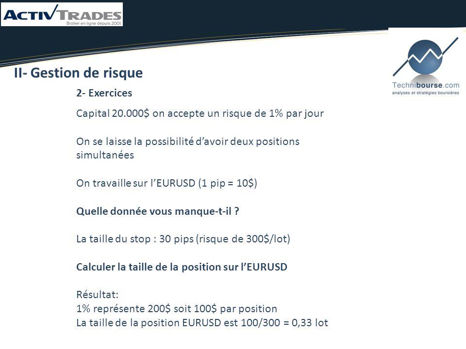 2- Exercices II- Gestion de risque Capital 20.000$ on accepte un risque de 1% par jour On se laisse la possibilité d'avoir deux positions simultanées On travaille sur l'EURUSD (1 pip = 10$) Quelle donnée vous manque-t-il .