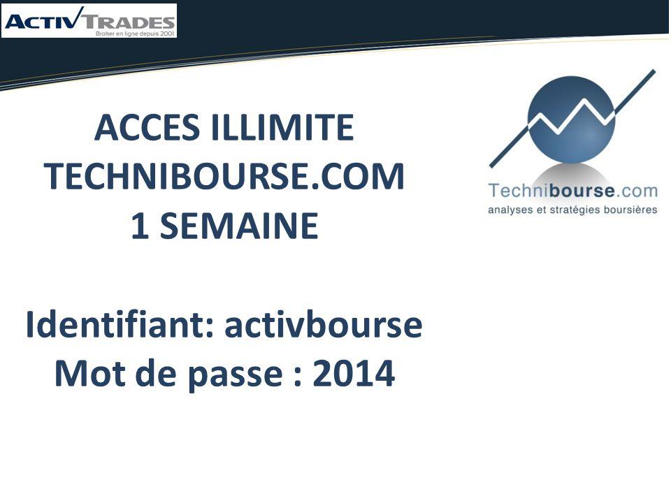ACCES ILLIMITE TECHNIBOURSE.COM 1 SEMAINE Identifiant: activbourse Mot de passe : 2014