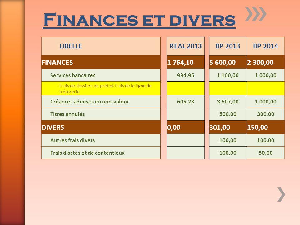 Finances et divers LIBELLEREAL 2013BP 2013BP 2014 FINANCES1 764,105 600,002 300,00 Services bancaires934,951 100,001 000,00 Frais de dossiers de prêt