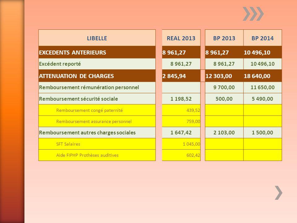LIBELLEREAL 2013BP 2013BP 2014 EXCEDENTS ANTERIEURS8 961,27 10 496,10 Excédent reporté8 961,27 10 496,10 ATTENUATION DE CHARGES2 845,94 12 303,0018 64