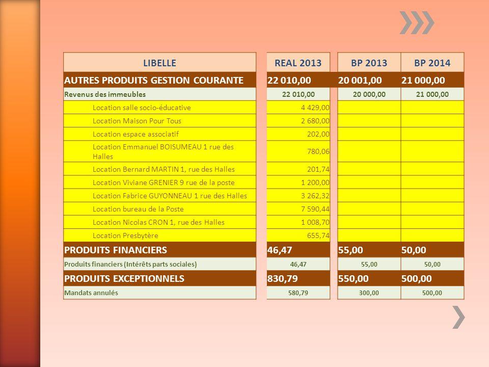 LIBELLEREAL 2013BP 2013BP 2014 AUTRES PRODUITS GESTION COURANTE22 010,00 20 001,0021 000,00 Revenus des immeubles22 010,0020 000,0021 000,00 Location