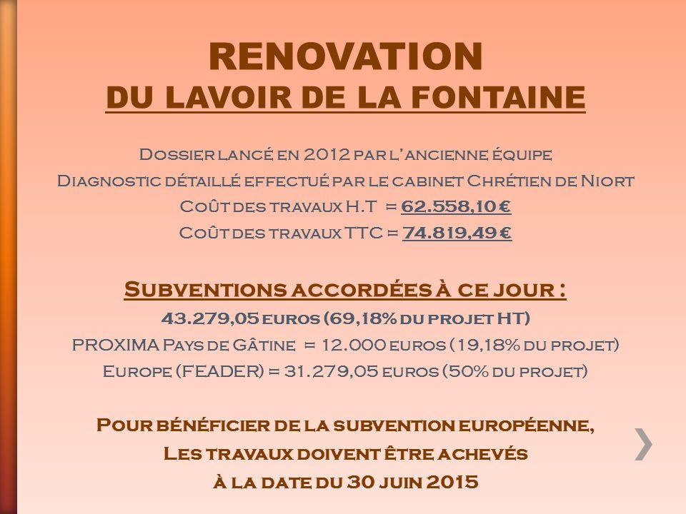 RENOVATION DU LAVOIR DE LA FONTAINE Dossier lancé en 2012 par l'ancienne équipe Diagnostic détaillé effectué par le cabinet Chrétien de Niort Coût des