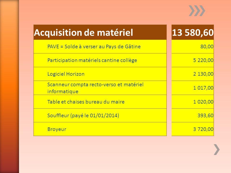 Acquisition de matériel13 580,60 PAVE = Solde à verser au Pays de Gâtine80,00 Participation matériels cantine collège5 220,00 Logiciel Horizon2 130,00
