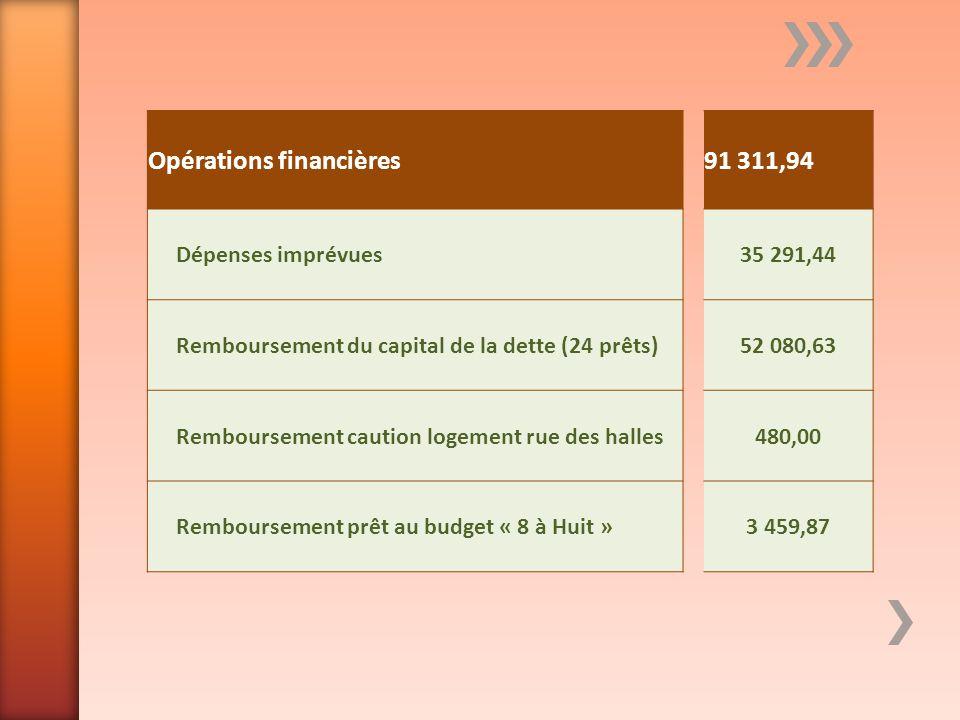 Opérations financières91 311,94 Dépenses imprévues35 291,44 Remboursement du capital de la dette (24 prêts)52 080,63 Remboursement caution logement ru