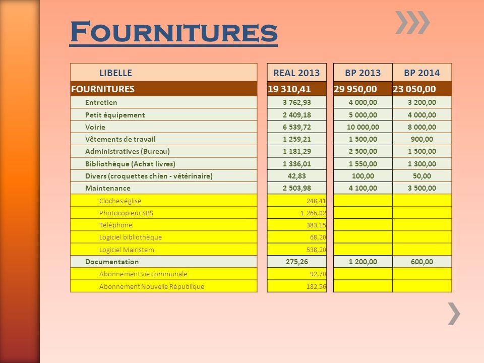 Fournitures LIBELLEREAL 2013BP 2013BP 2014 FOURNITURES19 310,4129 950,0023 050,00 Entretien3 762,934 000,003 200,00 Petit équipement2 409,185 000,004