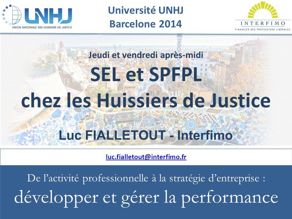 UNIVERSITE UNHJ - Barcelone 2014 reproduction interdite Université UNHJ Barcelone 2014 SEL et SPFPL chez les Huissiers de Justice  Loi du 31/12/1990 + Décret du 31/12/1992  Décret limitant les comptes courants d'associés du 23/07/1992  Loi Murcef du 11/12/2001  Loi LME du 04/08/2008  Décret du 23/08/2004 : SPFPL d'Huissiers  Décret 19/03/2014 : SPFPL pluriprofessionnelles du Chiffre et du Droit Question récurrente : quid de la patrimonialité de la clientèle de l'officier ministériel exerçant en SEL ?