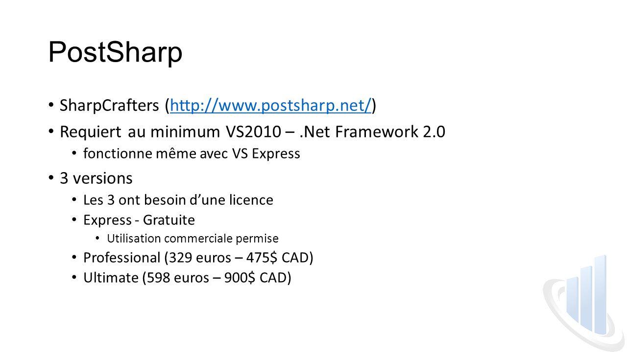 PostSharp SharpCrafters (http://www.postsharp.net/)http://www.postsharp.net/ Requiert au minimum VS2010 –.Net Framework 2.0 fonctionne même avec VS Express 3 versions Les 3 ont besoin d'une licence Express - Gratuite Utilisation commerciale permise Professional (329 euros – 475$ CAD) Ultimate (598 euros – 900$ CAD)