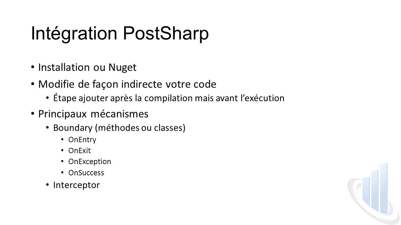 Intégration PostSharp Installation ou Nuget Modifie de façon indirecte votre code Étape ajouter après la compilation mais avant l'exécution Principaux mécanismes Boundary (méthodes ou classes) OnEntry OnExit OnException OnSuccess Interceptor