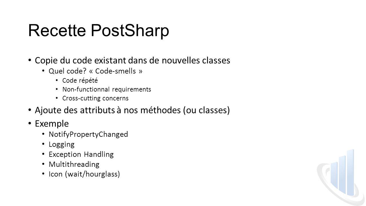 Recette PostSharp Copie du code existant dans de nouvelles classes Quel code.