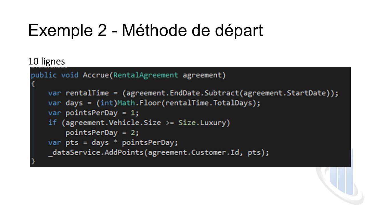 Exemple 2 - Méthode de départ 10 lignes