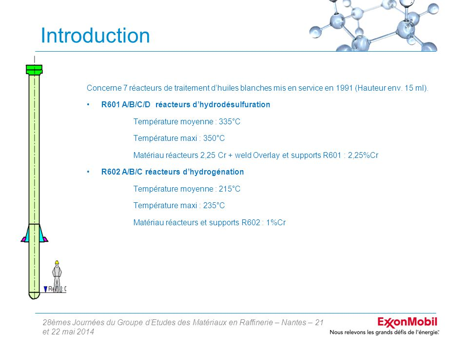 28èmes Journées du Groupe d'Etudes des Matériaux en Raffinerie – Nantes – 21 et 22 mai 2014 Introduction Concerne 7 réacteurs de traitement d'huiles blanches mis en service en 1991 (Hauteur env.