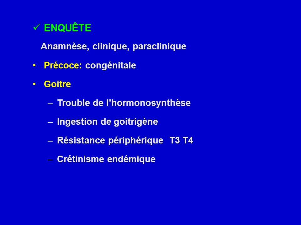 ENQUÊTE ENQUÊTE Anamnèse, clinique, paraclinique Anamnèse, clinique, paraclinique Précoce: congénitalePrécoce: congénitale GoitreGoitre –Trouble de l'