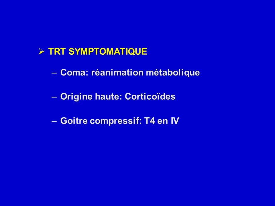  TRT SYMPTOMATIQUE –Coma: réanimation métabolique –Origine haute: Corticoïdes –Goitre compressif: T4 en IV