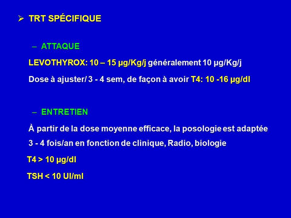  TRT SPÉCIFIQUE –ATTAQUE LEVOTHYROX: 10 – 15 µg/Kg/j généralement 10 µg/Kg/j Dose à ajuster/ 3 - 4 sem, de façon à avoir T4: 10 -16 µg/dl –ENTRETIEN