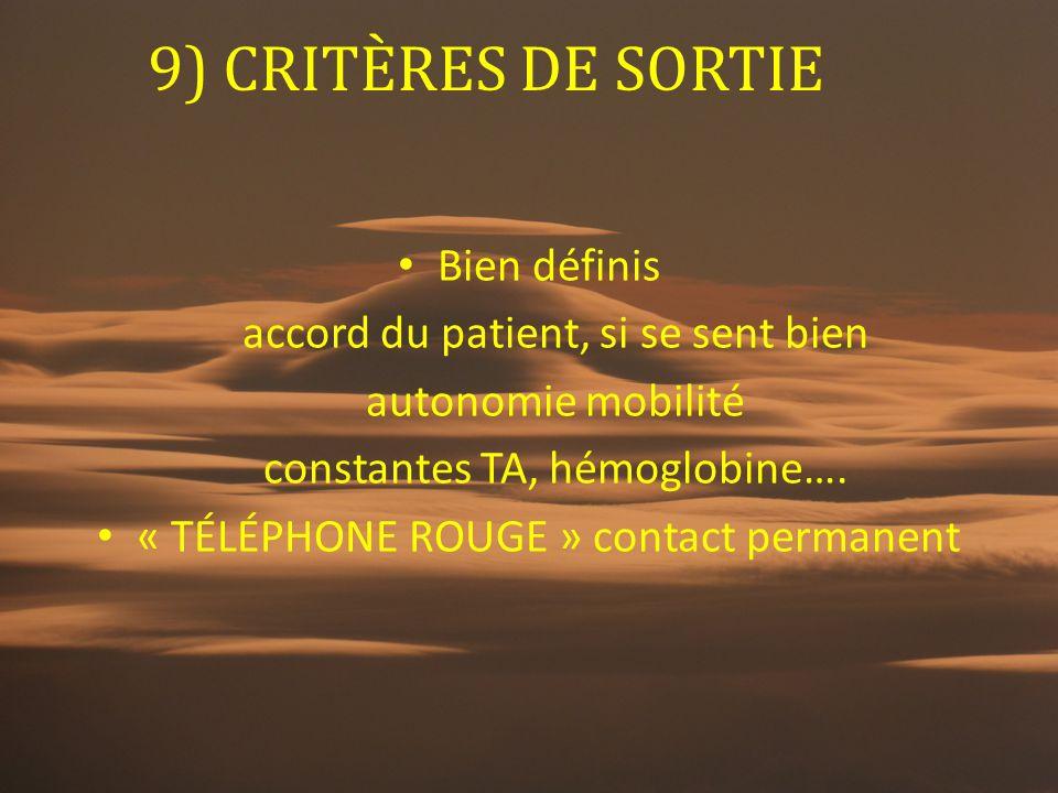 9) CRITÈRES DE SORTIE Bien définis accord du patient, si se sent bien autonomie mobilité constantes TA, hémoglobine…. « TÉLÉPHONE ROUGE » contact perm