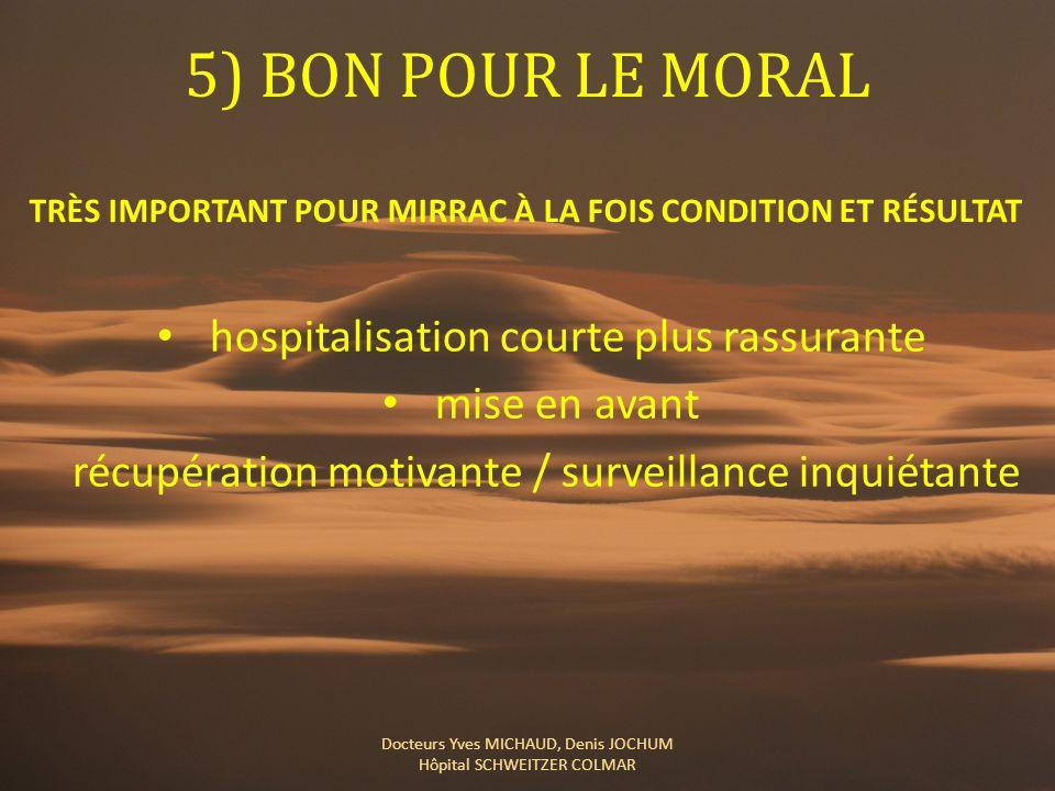 5) BON POUR LE MORAL hospitalisation courte plus rassurante mise en avant récupération motivante / surveillance inquiétante Docteurs Yves MICHAUD, Den