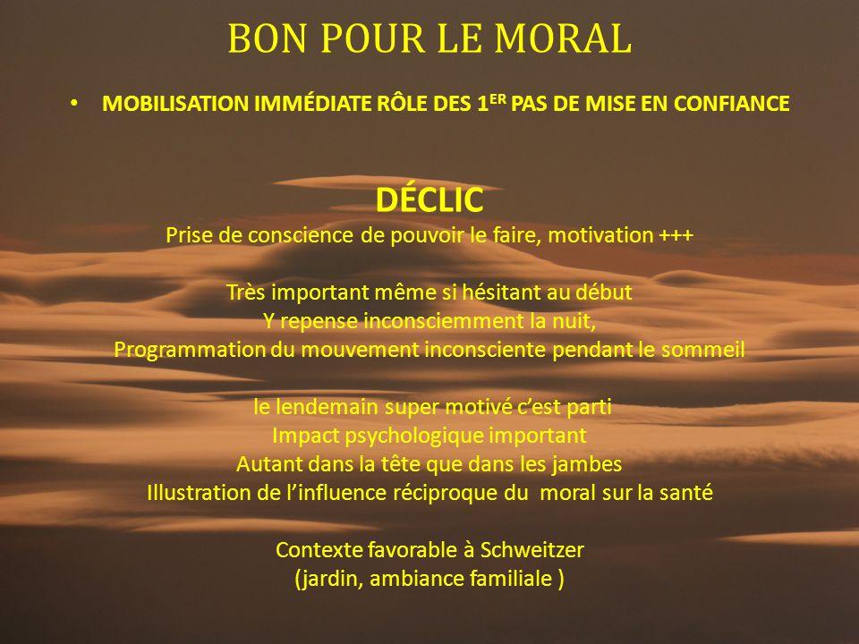 BON POUR LE MORAL MOBILISATION IMMÉDIATE RÔLE DES 1 ER PAS DE MISE EN CONFIANCE DÉCLIC Prise de conscience de pouvoir le faire, motivation +++ Très im