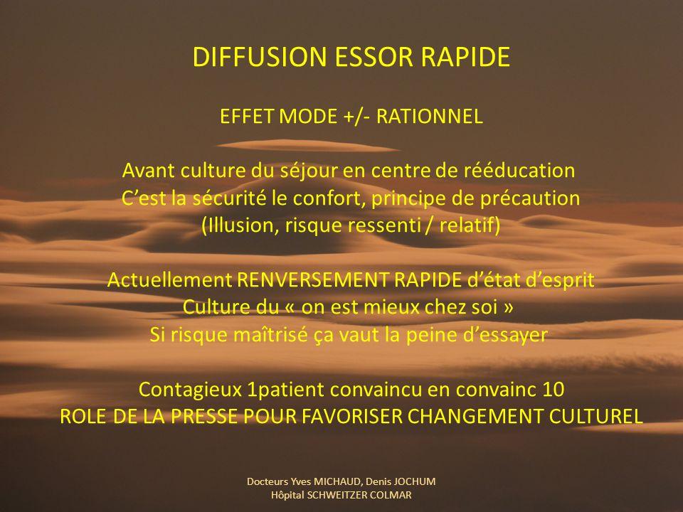 DIFFUSION ESSOR RAPIDE EFFET MODE +/- RATIONNEL Avant culture du séjour en centre de rééducation C'est la sécurité le confort, principe de précaution