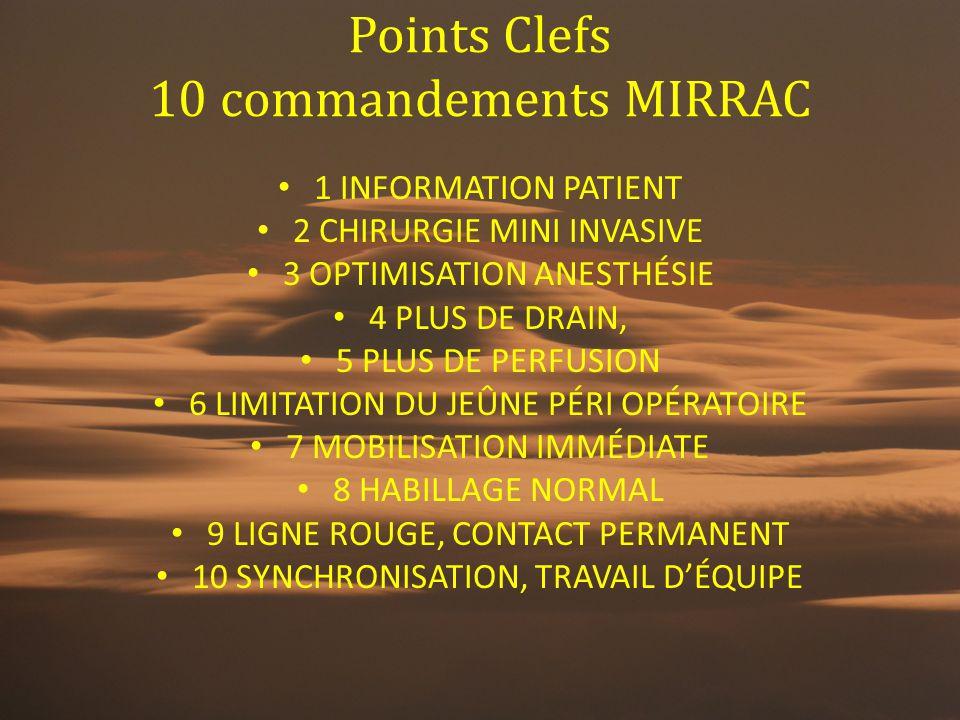 Points Clefs 10 commandements MIRRAC 1 INFORMATION PATIENT 2 CHIRURGIE MINI INVASIVE 3 OPTIMISATION ANESTHÉSIE 4 PLUS DE DRAIN, 5 PLUS DE PERFUSION 6