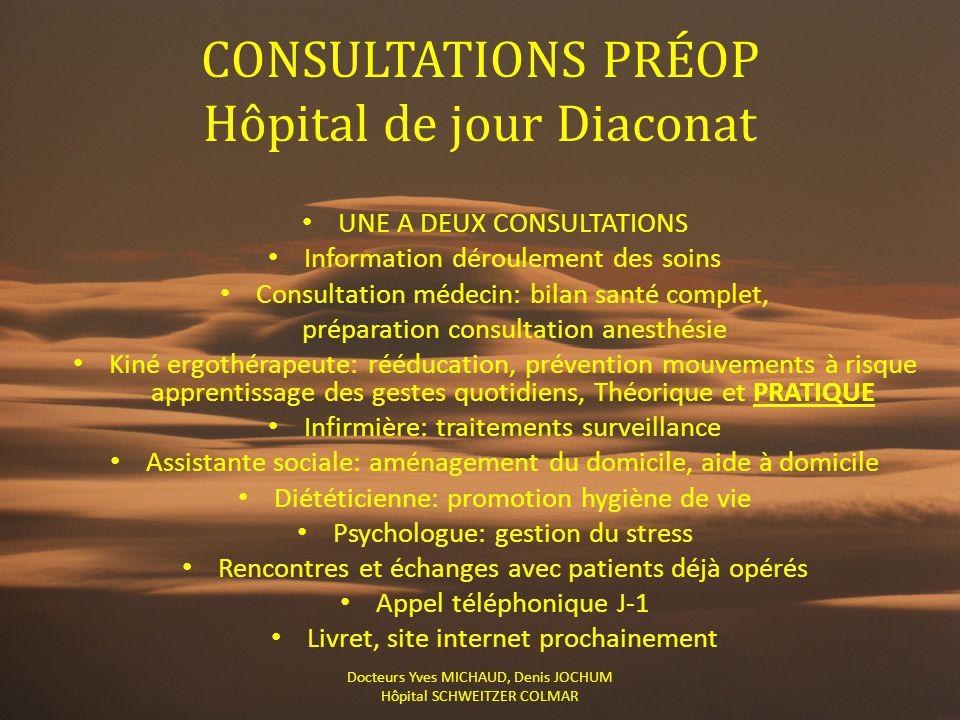 CONSULTATIONS PRÉOP Hôpital de jour Diaconat UNE A DEUX CONSULTATIONS Information déroulement des soins Consultation médecin: bilan santé complet, pré