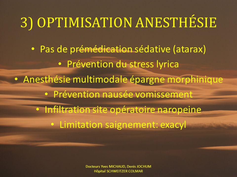 3) OPTIMISATION ANESTHÉSIE Pas de prémédication sédative (atarax) Prévention du stress lyrica Anesthésie multimodale épargne morphinique Prévention na