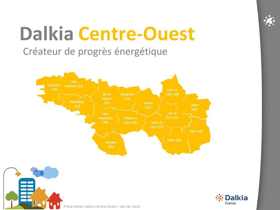 2 Chiffres clés Dalkia Centre-Ouest 333 M€ de CA 1 030 collaborateurs (avec filiales) 2 filiales : Climatélec et « Dalkia Nord Finistère » 15 départements 3 Centres Opérationnels 4 Agences Commerciales 7 193 installations gérées Certifications: ISO 50 001, ISO 9 001, ISO 14 001 et OHSAS 18001 Puissance gérée : 3 465 MW 14% 18%
