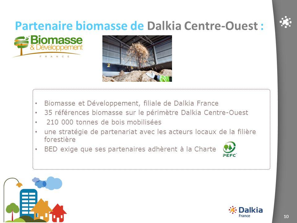 10 Partenaire biomasse de Dalkia Centre-Ouest : Biomasse et Développement, filiale de Dalkia France 35 références biomasse sur le périmètre Dalkia Cen