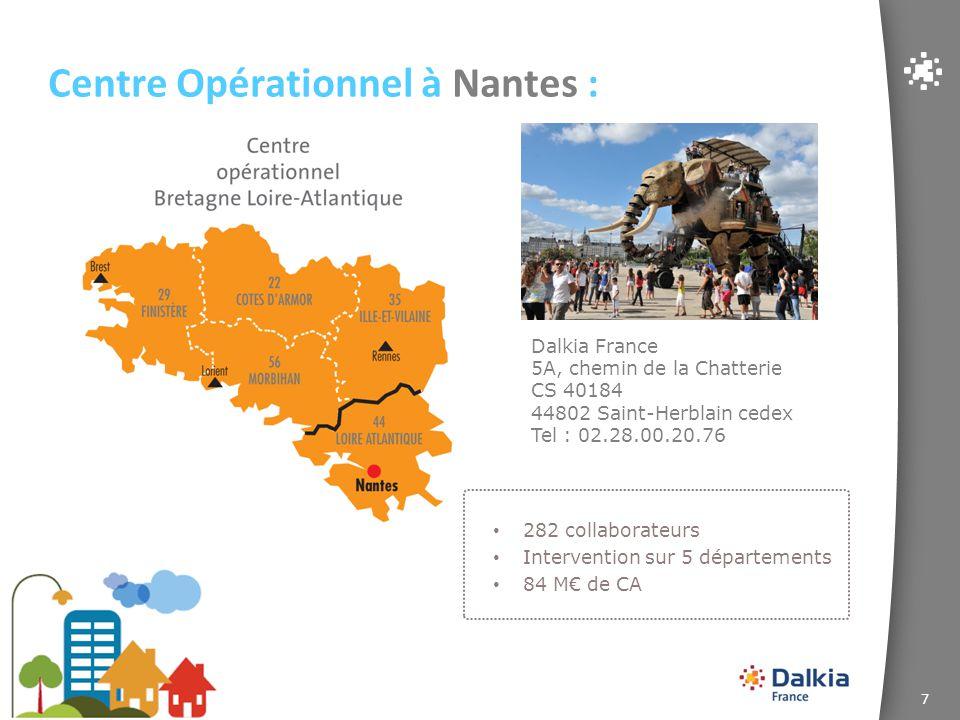 8 Centre Ouest Dalkia France 1 rue des Métiers 49130 Sainte-Gemmes-sur-Loire Tél : 02.41.22.92.40 Centre Opérationnel à Angers : 319 collaborateurs Intervention sur 5 départements 146 M€ de CA