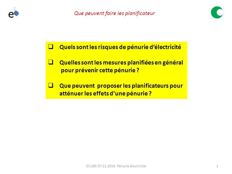 2ECUBE 07.11.2014 Pénurie électricité  Quels sont les risques de pénurie d'électricité  Quelles sont les mesures planifiées en général pour prévenir cette pénurie .