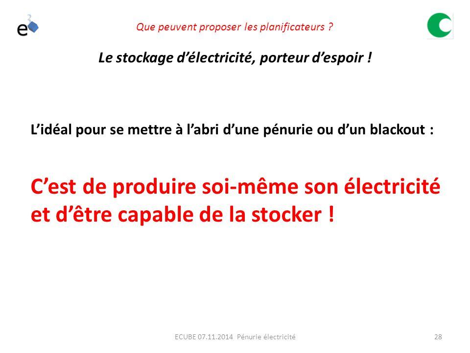 28ECUBE 07.11.2014 Pénurie électricité Que peuvent proposer les planificateurs .
