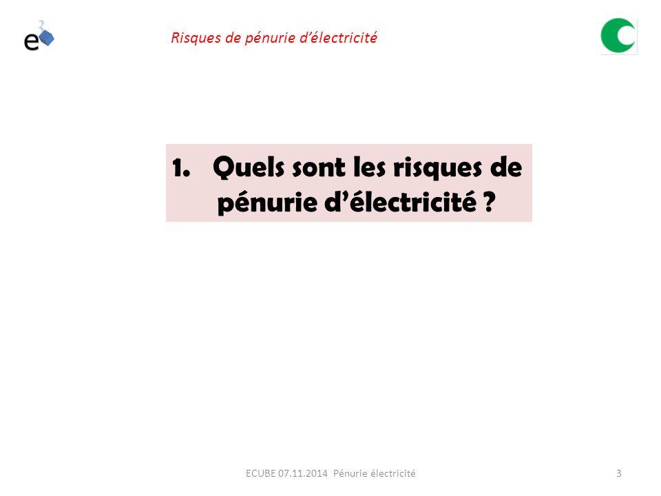 3ECUBE 07.11.2014 Pénurie électricité Risques de pénurie d'électricité 1.