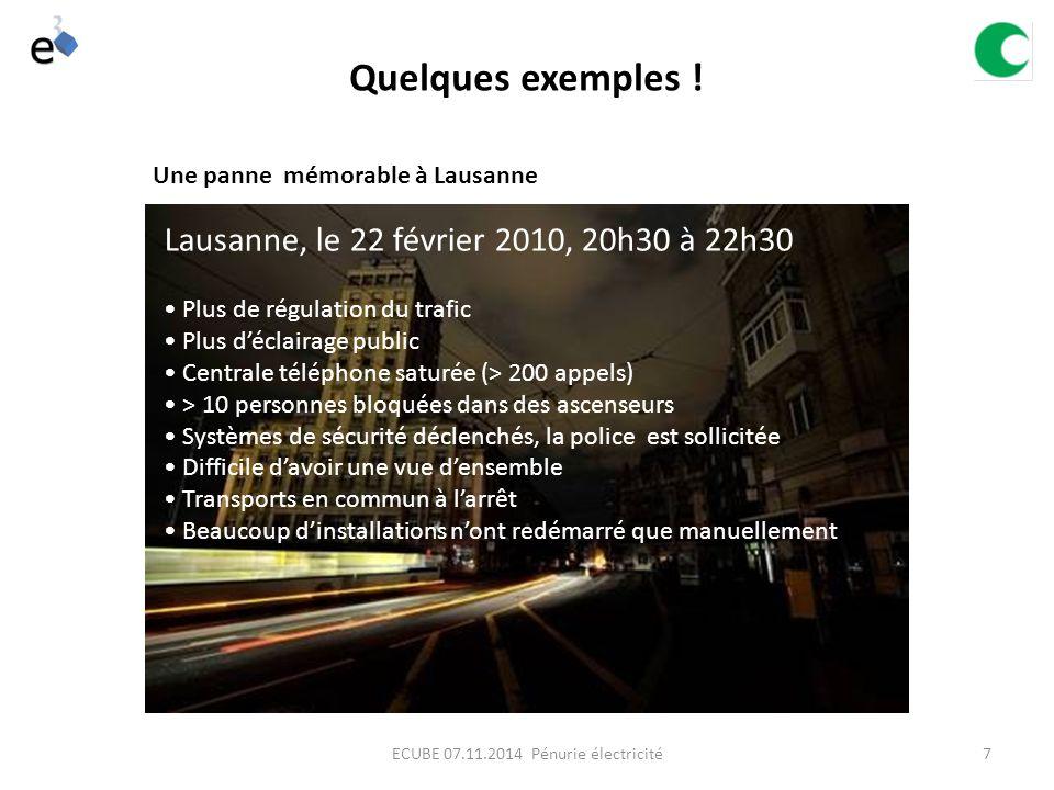7 Lausanne, le 22 février 2010, 20h30 à 22h30 Plus de régulation du trafic Plus d'éclairage public Centrale téléphone saturée (> 200 appels) > 10 personnes bloquées dans des ascenseurs Systèmes de sécurité déclenchés, la police est sollicitée Difficile d'avoir une vue d'ensemble Transports en commun à l'arrêt Beaucoup d'installations n'ont redémarré que manuellement Une panne mémorable à Lausanne Quelques exemples .