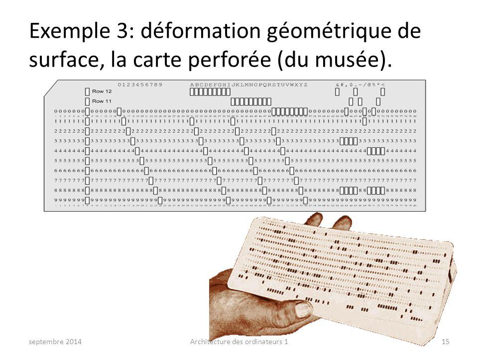 Exemple 3: déformation géométrique de surface, la carte perforée (du musée). septembre 2014Architecture des ordinateurs 115