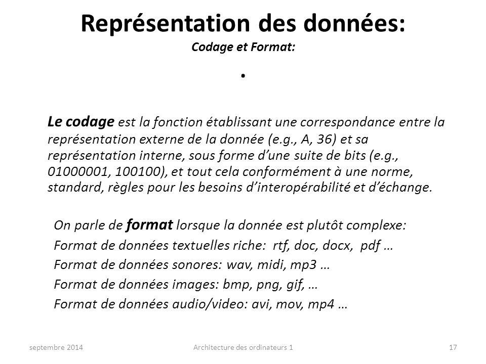 Représentation des données: Codage et Format:. Le codage est la fonction établissant une correspondance entre la représentation externe de la donnée (