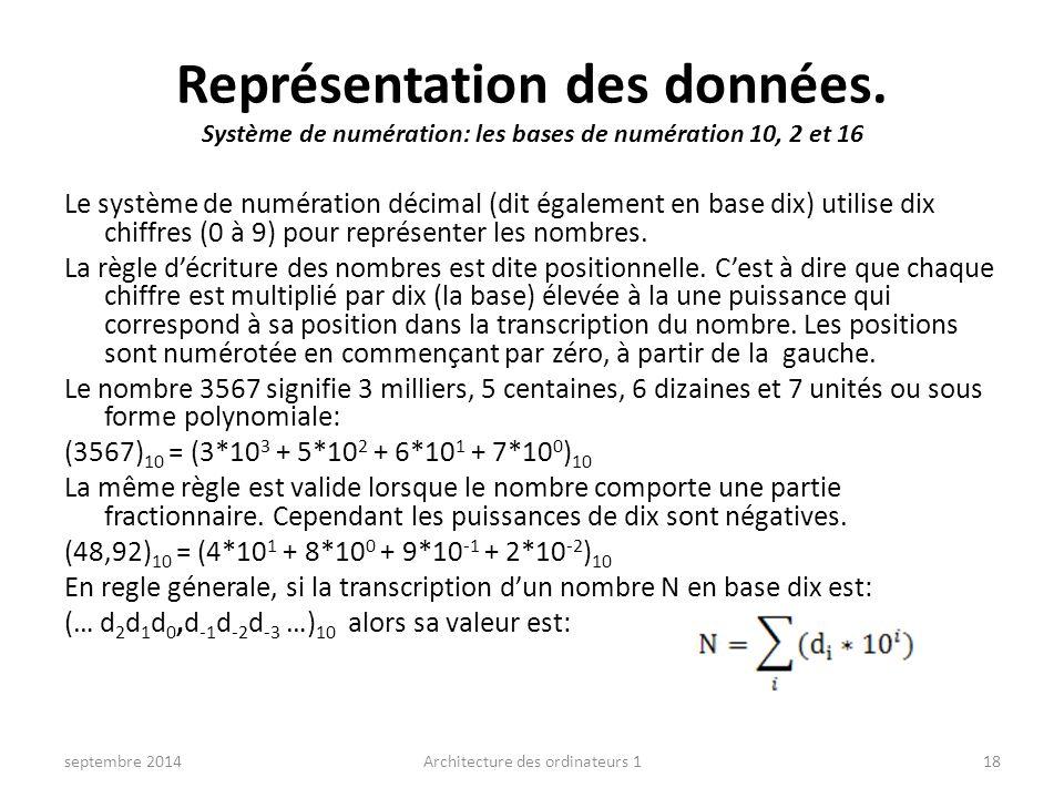 Représentation des données. Système de numération: les bases de numération 10, 2 et 16 Le système de numération décimal (dit également en base dix) ut