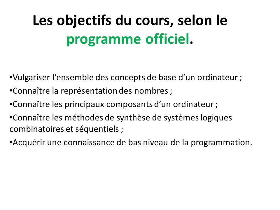 Les objectifs du cours, selon le programme officiel. Vulgariser l'ensemble des concepts de base d'un ordinateur ; Connaître la représentation des nomb