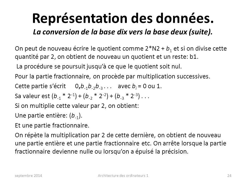 Représentation des données. La conversion de la base dix vers la base deux (suite). On peut de nouveau écrire le quotient comme 2*N2 + b 1 et si on di