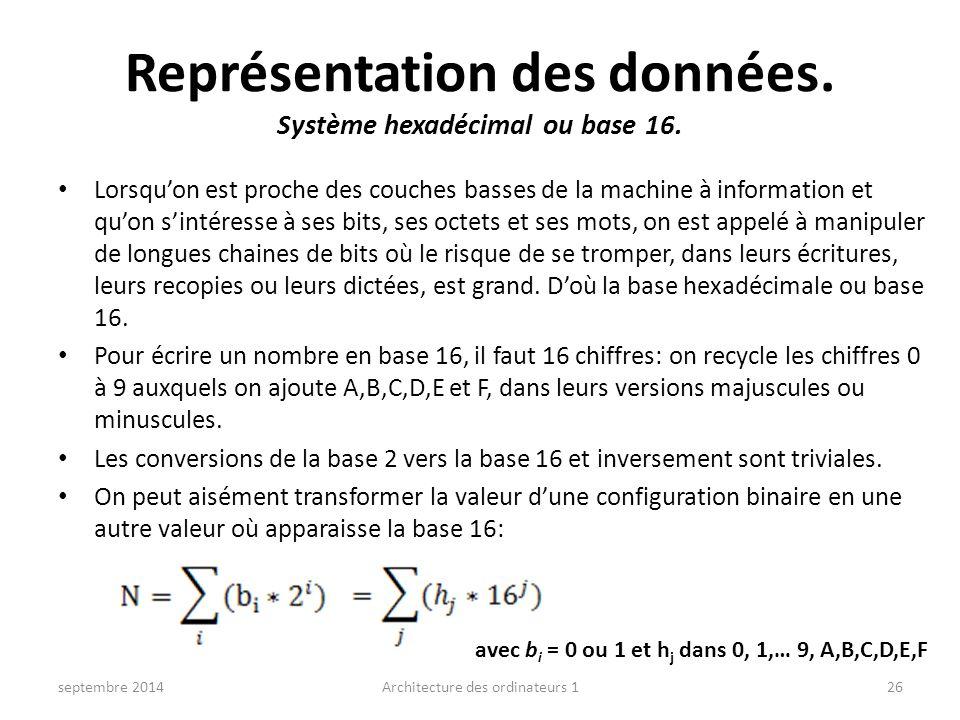 Représentation des données. Système hexadécimal ou base 16. Lorsqu'on est proche des couches basses de la machine à information et qu'on s'intéresse à