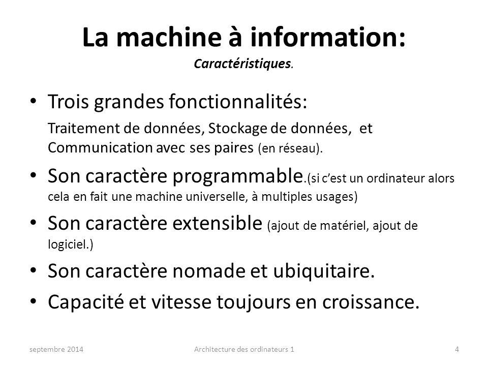 La machine à information: Caractéristiques. Trois grandes fonctionnalités: Traitement de données, Stockage de données, et Communication avec ses paire